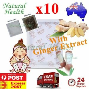 10 Detox Foot Pad Patch KINOKI Herbal Weight loss toxin removal w Ginger Extract