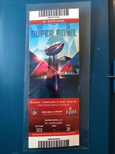 2019 Super Bowl 53 New England Patriots Los Angeles Rams Suite Ticket + Lanyard