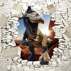 Tapete Dinosaurier Fototapete Vlies 3D EFFEKT Wand Ziegel T-Rex Kinderzimmer 821