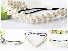 NEW Pearl Craft Beaded Elastic Headband HairBand Hair Rubber Band Accessories