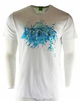 Men's Hugo Boss T-Shirt White Blue Fashion Crew Neck Size XXL