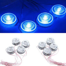 8x Waterproof Round LED Blue Underbody Glow Under Car Auto Decoration Lamp Light
