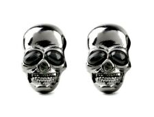 Black Chrome Skull Earrings Gothic Earring Skull Stud Halloween earrings 690