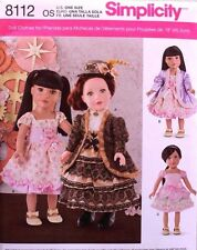 "18"" GIRL DOLL CLOTHES Simplicity Sewing Pattern 8112 American Made NEW Uncut"