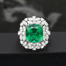 3ct AAA Lab Created Colombian Emerald CCE Emgagement Ring Genuine 14k White Gold