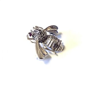 Bumble Bee Tie Pin 2d insect Bug men's lapel brooch in Sterling Silver & Rubies