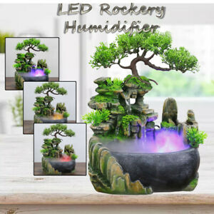 110V Atomizing Waterfall Rockery Desktop Fountain LED Color Changing Decor