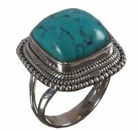 Handmade 925 Solid Sterling Silver Ring Natural Turquoise US Size 7.25 R957