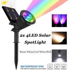 2X 4LED Spot Light Warm/Cool White Landscape Garden IP65 RGB Backyard Solar