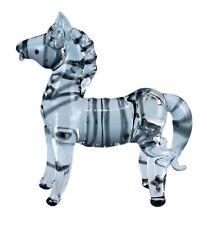 "Miniature Hand Blown Clear Boro Glass Zebra Figurine 2.75"" High New!"
