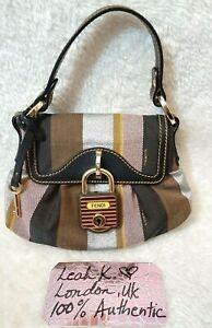 Authentic FENDI Canvas Leather Mini Padlock Baguette Handbag ~ Pre-loved