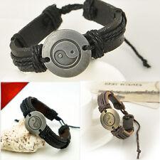Retro Mysterious Tai Chi Yin Yang Wrap Leather Bracelet Infinity Charm Woman Man