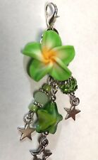 Vape Pen Mod Charm - Flower Stars Shades of Green Crystals - 1 Silicone Ring