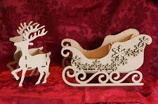 MDF Wooden MDF Wooden Sleigh Santa Sleigh and reindeer kit Craft wall door ha...