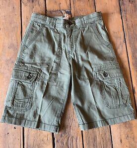 Boys Lands End Size 12 Cargo Shorts Adjustable Green Khaki