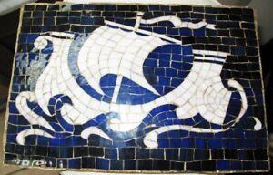 "Arts & Crafts ca1890 13"" x 10"" Cobalt Blue & White Mosaic Tile Panel Roman Ship"
