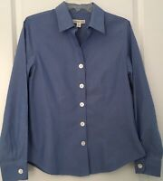 Coldwater Creek Womens Medium Shirt Blouse Button Front Blue