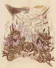 HOFDAMEN auf der FLUCHT 1928 - Louis TOUCHAGUES Color.Lithographie in ART DECO