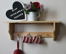 Shaker country pine kitchen or bathroom shelf,single rack shaker pegs rail