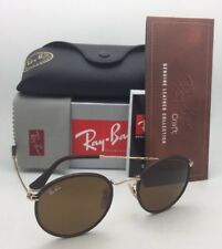 New RAY-BAN Sunglasses RB 3475-Q 9041 50-21 Brown Leather Frame w/ Brown Lenses