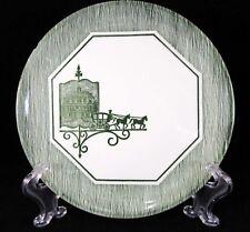 "EUC CERAMIC ""HORSE-DRAWN WAGON-GREEN STRIPES"" SALAD PLATE 7 1/4 INCHES"