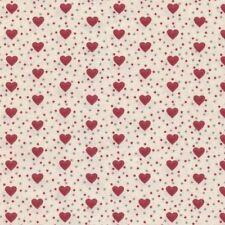 Textiles français Baumwolle Stoff | Die Liebesherzen Rot, Grau und Cremeweiß