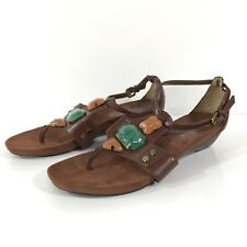 Womens Anne Klein iFlex Brown Faux Leather Beaded T-Strap Wedge Sandal Size 6.5M
