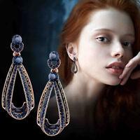 New Fashion Women Jewelry Crystal Earrings Blue Rhinestone Drop Water Ear Stud