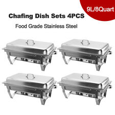 More details for 9l/8q 4 pack chafer chafing dish sets pans stainless food warmer steel catering