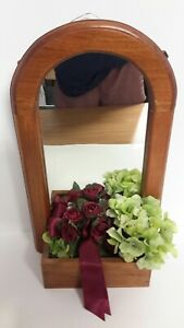 Decorative Mirror Wood Frame Silk Flower Floral Handcrafted Wall Mount or Stand