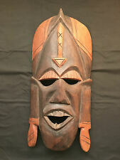 Wood Carved Mask Sculpture Wall Decor - Two Tone Colour with Headgear M09