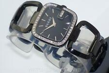 NEW LADIES G GUCCI 125 YA125403 0.60ct WEIGHT APPROXIMATELY DIAMIND BLK WATCH **