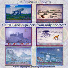 "IRISH CELTIC LANDSCAPES SET. 6 Art Prints by Jim FitzPatrick. A3 11""x16"""