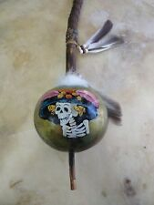 Hand Painted Dance Gourd Rattle , Catrina ,Ceremonial, folk art style , glossy 3