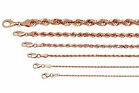 "14k Solid  Rose Gold Rope Chain Necklace 1.5-6mm Men's Women Sz 16""-30"""