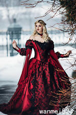 2018 Custom Gothic Medieval Red Black Wedding Dress Bridal Ball Gown Victorian