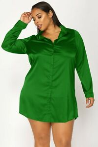 Women Green Satin Plus Size Shirt Long Blouse Solid Collar Casual Party Wear Top