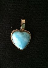 14k Solid Gold Larimar Large Heart Pendant-Pre owned