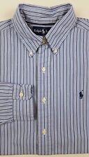 RALPH Lauren CLASSIC Fit OXFORD Medium SHIRT Blue MULTICOLOR Striped PONY Logo**