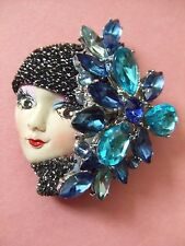 LADY HEAD WOMAN FACE PIN Blue/Turquoise Teardrop Rhinestones PORCELAIN-LOOK