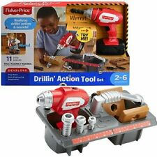 New Fisher Price Drillin' Action Tool Set Drill Screws Electric Red Tool Box 2-6