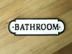 CAST IRON BATHROOM Sign Style Solid Cast Iron Door Plaque Restroom Lavatory