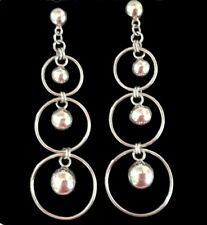 Vintage Retro 925 Sterling Silver Hoop & Ball Long Dangle Earrings