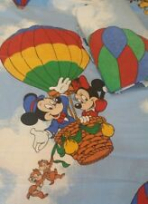 Vtg Walt Disney Hot Air Balloon Twin Fitted & Flat Sheet Mickey Minnie Goofy