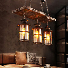 3-Light Farmhouse Pendant Chandelier Farmhouse Wooden Hanging Island Lighting