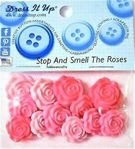STOP & SMELL THE ROSES 9377 Dress It Up Novelty Craft Buttons Free postage