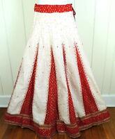 Lehenga Mandala Skirt Red Gold Sparkle S M L Sari Renaissance Festival Costume