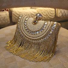 Fashion Women Gold Crystal Pearl Tassel Evening Bag Clutch Wedding Party Handbag
