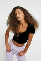 Urban Outfitters Archive Black Velvet Crop Top Size Small UK 10 RRP £25