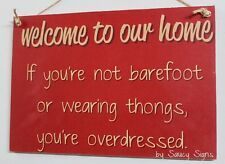 Welcome To Our Home Thongs Sign Red Shabby Rustic Chic Door Shoes Beach Sign